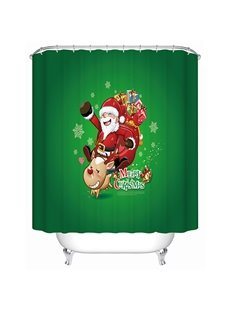 Happy Funny Santa Clause and Deer Christmas Theme 3D Shower Curtain