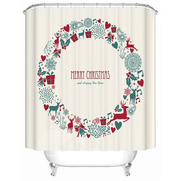 Pretty Concise Design Merry Christmas 3D Shower Curtain