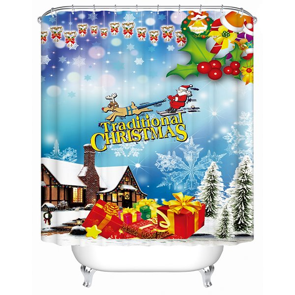 Wonderful Brisk Santa and Deer Christmas Theme 3D Shower Curtain