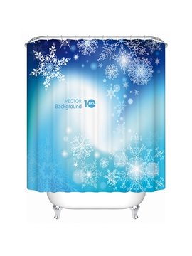 Dreamlike Unique Design Blueground Snowfalke Shower Curain
