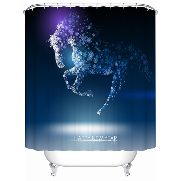 3D Snowflake Horse Printed Polyester Bathroom Shower Curtain