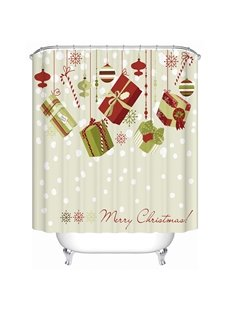 Pretty Concise Brisk Christmas Presents Printing 3D Shower Curtain
