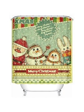 Lovely Brisk Santa and Snowmen Printing Christmas Theme 3D Shower Curtain
