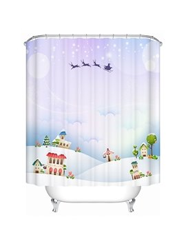 Brisk Concise Houses and Flying Deers Shower Curain