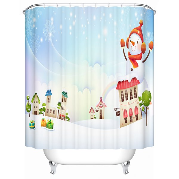 Sweet Concise Snowman and Houses Shower Curain
