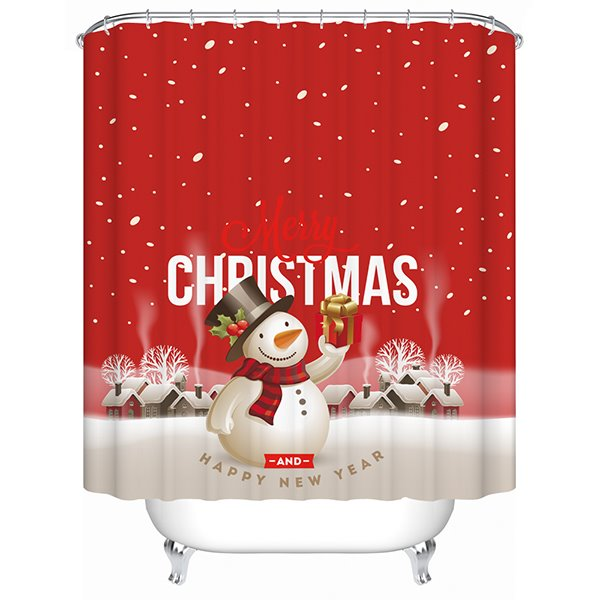 Vibrant Festive Snowman with Christmas Present Printing 3D Shower Curtain