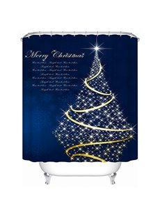 Graceful Unique Design Golden Christmas Tree Printing 3D Shower Curtain