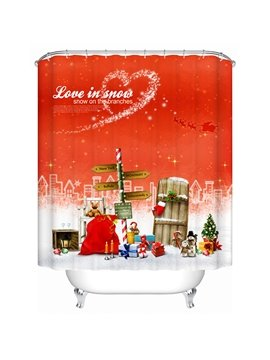 Wonderful Festive  Chritmas Presents Station Shower Curain