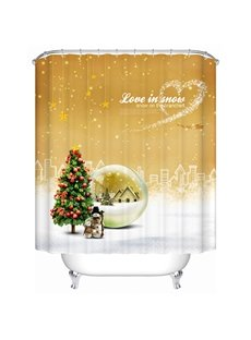 Fabulous Peaceful City with Christmas Trees and Snowman Printing 3D Shower Curtain