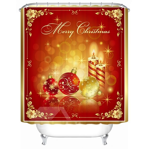 Fabulous Festive Candles and Baubles Shower Curtain