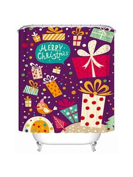 Fashion Vivid Colorful Christmas Presents Printing 3D Shower Curtain