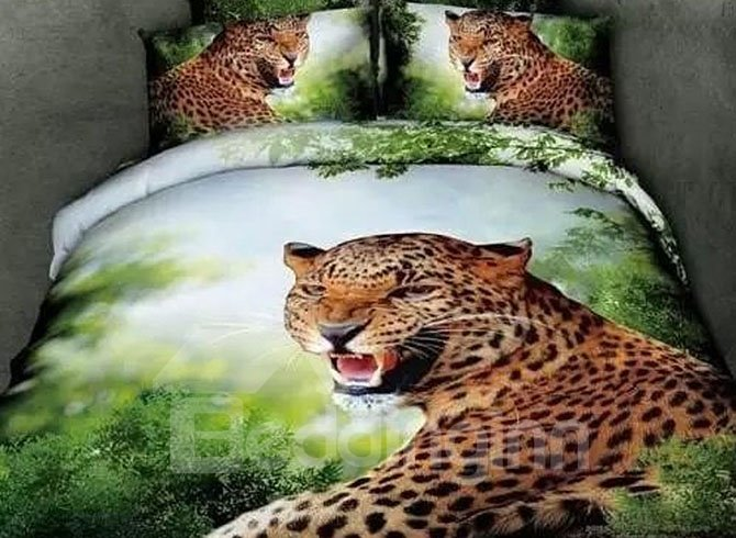 Howling Leopard Print Cotton Green 4-Piece Duvet Cover Sets