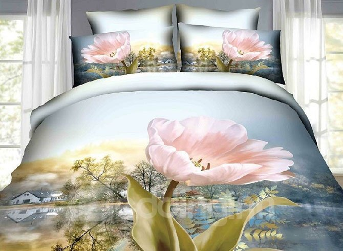 3D Pink Tulip and Village Scenery Printed Cotton Full Size 4-Piece Bedding Sets