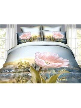 Pink Flowers Village Scenery Print Cotton 4-Piece Duvet Cover Sets