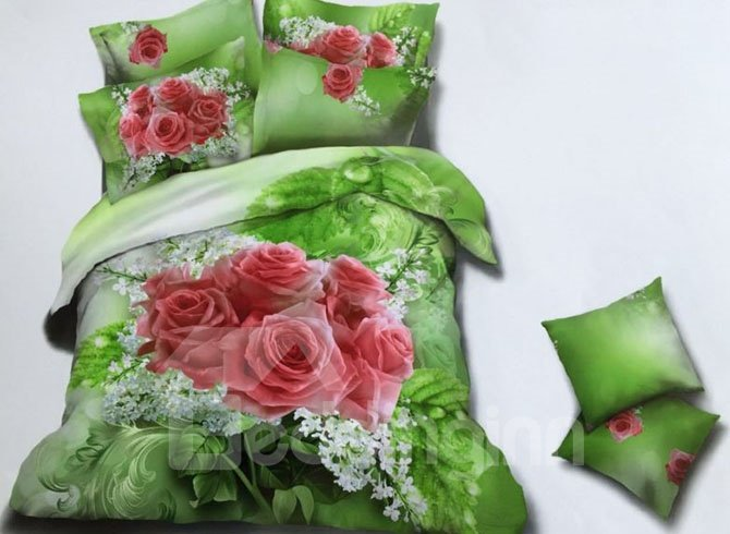 Romantic Rose and White Small Flowers Print 4-Piece Green Duvet Cover Sets