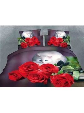 Cute Cat Staring Rose Print Polyester 4-Piece Duvet Cover Sets