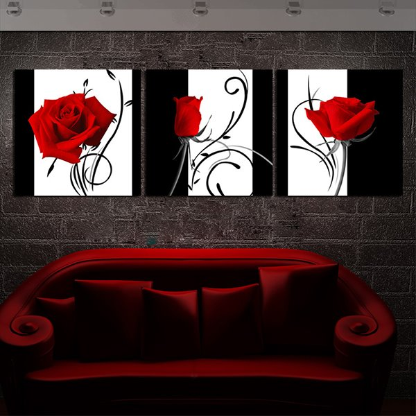 Romantic Roses with Abstract Lines Canvas 3-Panel Wall Art Prints