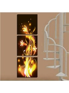 Fantastic Golden Flowers Canvas 3-Panel Wall Art Prints