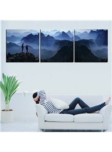 Two Climbers on Top of Mountains in Misty Clouds Canvas 3-Panel Wall Art Prints