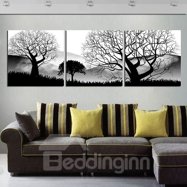 20×20in×3 Panels Black Trees in Desolate Desert Hanging Printed Canvas Waterproof Eco-friendly Framed Prints
