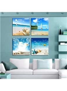 16×16in×4 Panels Blue Seaside Scenery Hanging Canvas Waterproof and Eco-friendly Framed Prints
