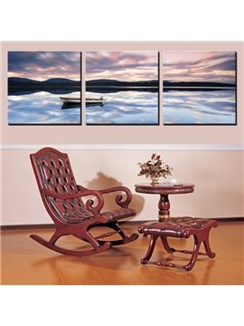 Amazing Quiet Lake and Hills in Distance in Dusk Canvas 3-Panel Wall Art Prints