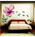 Gorgeous Extra Large Lily Flower and Butterfly TV Background Removable Wall Stickers