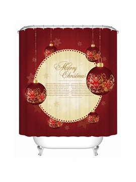 Graceful Unique Design Christmas Baubles 3D Shower Curtain
