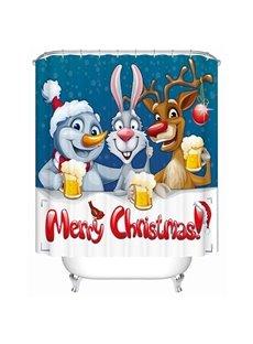 Adorable Lovely Cartoon Christmas Animals Printing 3D Shower Curtain
