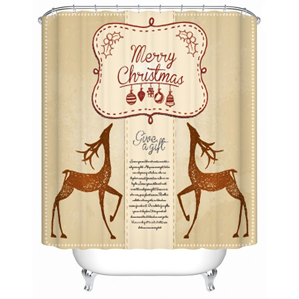 Charming Two Graceful Christmas Deers Shower Curtain