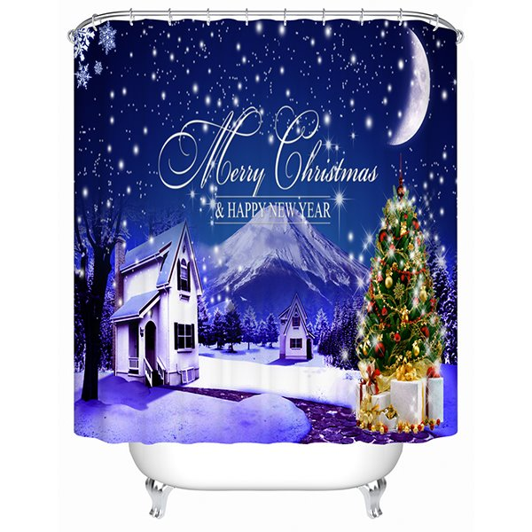 Stunning Unique Dreamlike Christmas Night Shower Curtain
