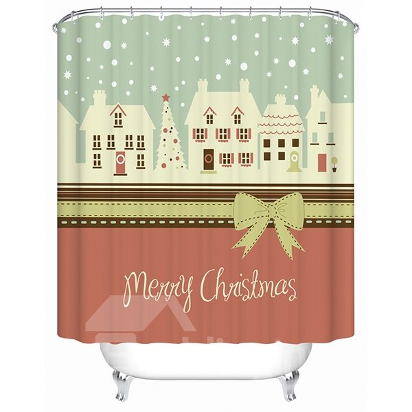 Sweet Peaceful Christmas Snowing Winter Shower Curtain