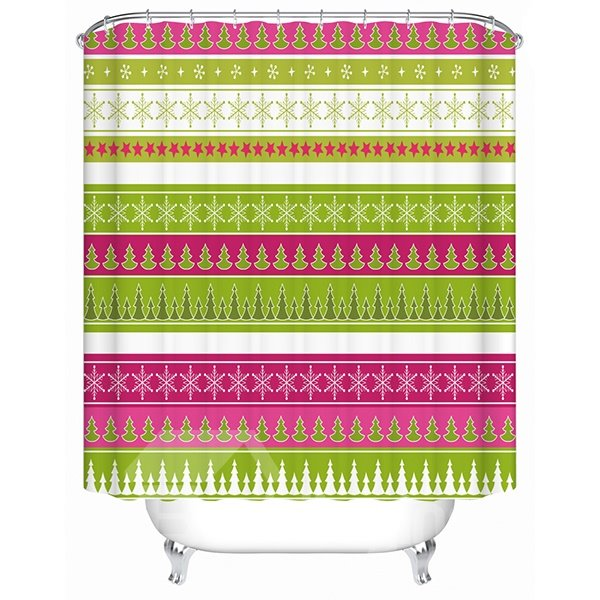 Graceful Colorful Stripes with Concise Pattern Shower Curtain