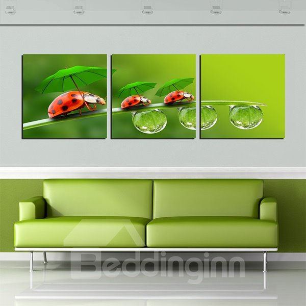 Creative Ladybug Under Umbrella 3-Panel Canvas Wall Art Prints