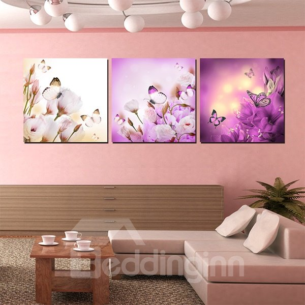Gorgeous Flowers and Butterflies Pattern 3-Panel Canvas Wall Art Prints