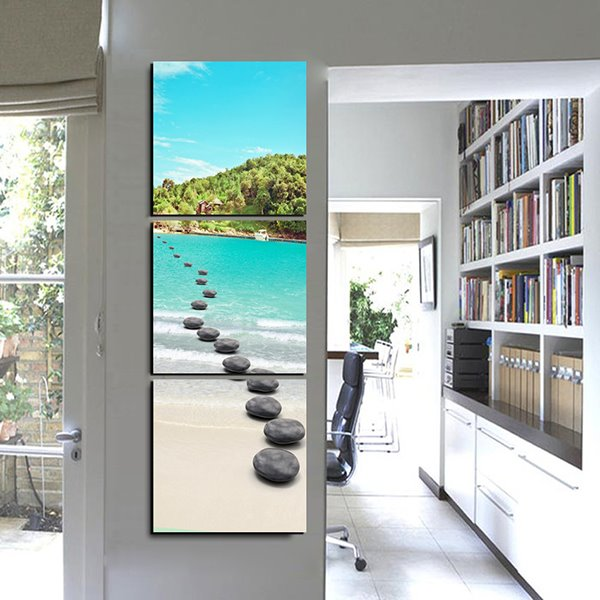 Creative Natural Scenery Crystal Lake and Pebbles 3-Panel Canvas Wall Art Prints