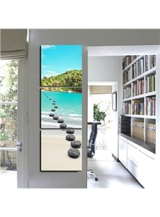 Creative Natural Scenery Crystal Lake and Pebbles 3-Panel Canvas Wall Art Prints