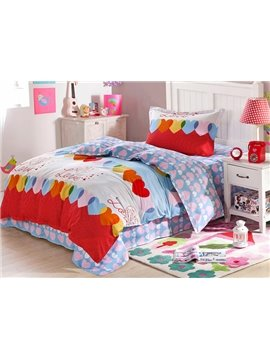 Dreamy Heart Shape Pattern Kids Soft Cotton Duvet Cover Set