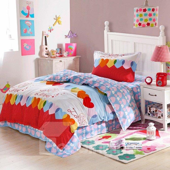 Dreamy Heart Shape Pattern Kids Soft Cotton Duvet Cover Set