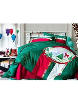 Christmas Reindeer & Tree Print Green Cotton 4-Piece Duvet Cover Sets