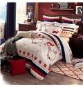 Gorgeous Christmas Elk Snowflake Print Cotton 4-Piece Duvet Cover Sets