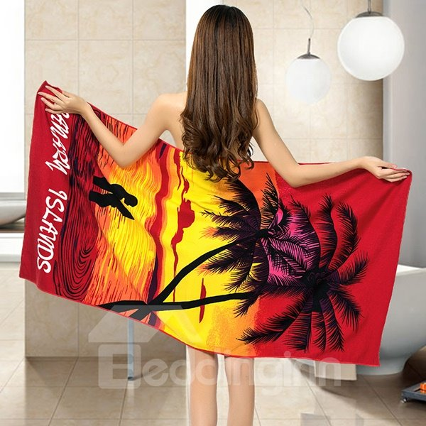 Noble Fashion Coconut Tree in the Sunset Printing Bath Towel