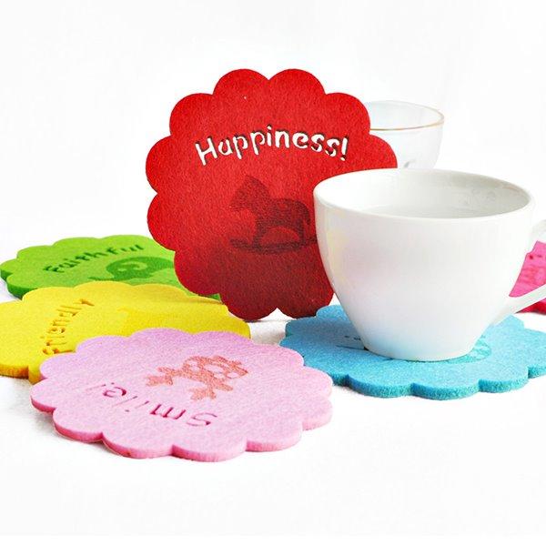 1-Set 6-Piece Multi-Color Felt Tea Cup Mat