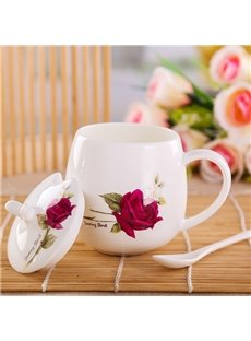 Beautiful One Red Rose Pot-Belly Ceramic Coffee Mug with Lid