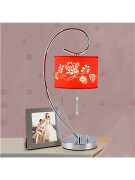 Modern Simple Floral Pattern Bedroom Table Lamp
