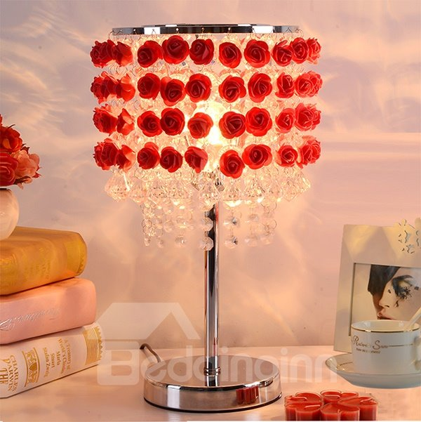 Gorgeous 3D Roses and Crystal Strings Decoration Bedroom Table Lamp Gifts Ideas