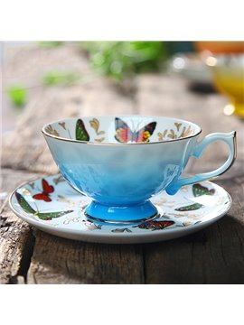 European Style Butterfly Pattern Coffee Cup with Saucer
