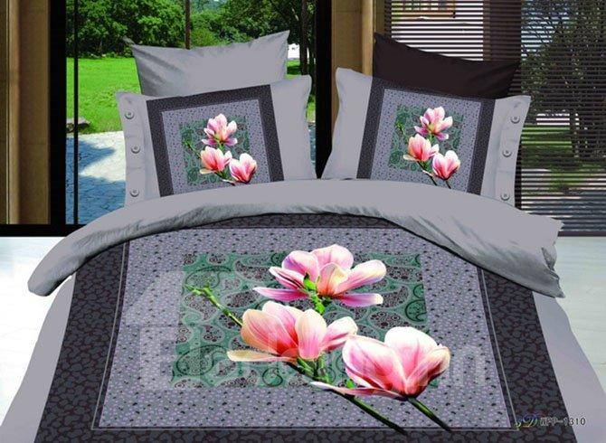 Elegant Pink Lily European Style 2-Piece Pillow Cases