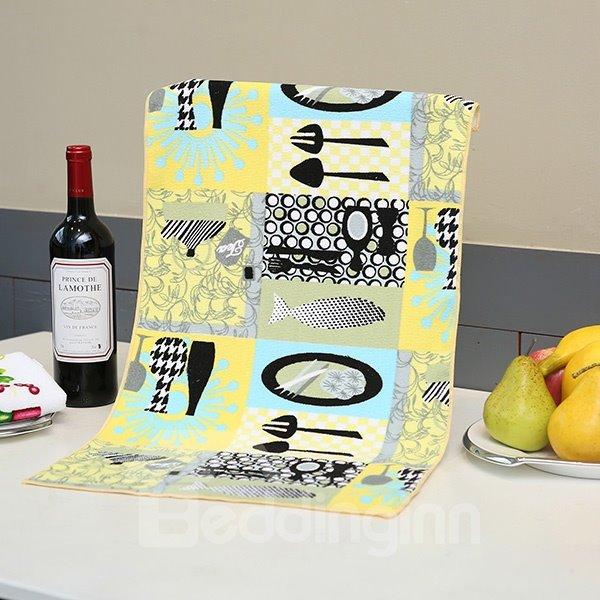Fashion Unique Tableware Pattern Yellow Ultrafine Fiber Tower