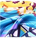 Popular Flower and Geometric Print Mulberry Silk Square Scarf